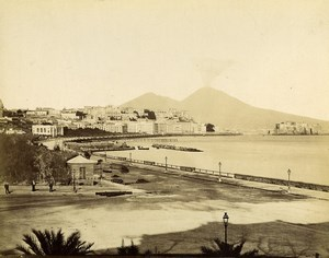 Italy Naples Napoli Vesuvius from Grand Hotel Albumen Photo Achille Mauri 1870