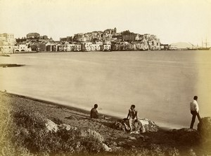 Italy Pozzuoli Panorama Old Albumen Photo Achille Mauri 1870