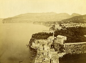Italy Sorrento Panorama Old Albumen Photo Achille Mauri 1870