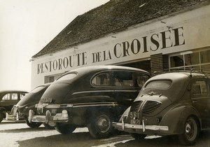 France Rouvray RN6 First Restoroute La Croisee Automobiles Old Photo 1954
