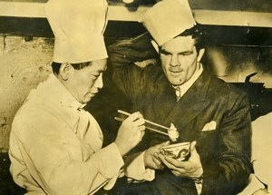 UK London Boxer Freddie Mills at his Chinese restaurant Old Photo 1947