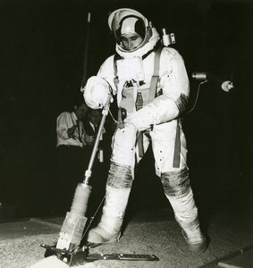 Moon Space Astronaut Harrison Schmitt Training Aseptic Sampler NASA Photo 1969