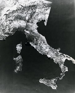 USA Space Satellite Landsat-1 Italy Mosaic Infrared views Old NASA Photo 1976