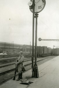 France Paris Railway Workers Strike Armed Guard Old Photo Trampus 1920