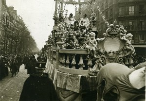 France Paris Easter Mid Lent Carnival Queens Float Old Photo Trampus 1919