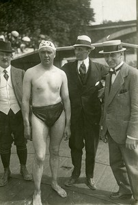 France Paris Seine Crossing Swimming David Billington Old Trampus Photo 1920
