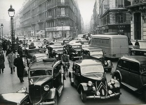 France Paris Transport Workers Strike Traffic Jam near la Bourse Old Photo 1951