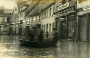 France Alsace Diemeringen Floods Disaster Engineering Soldiers Old Photo 1955