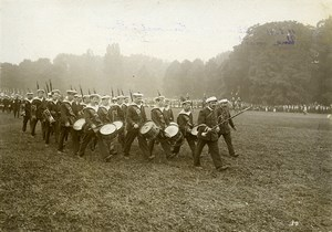 France Paris Marine Troops Parade Military Band Drummers Old Photo 1911