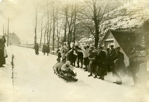 France Pyrenees Cauterets Bobsleigh Race Old Photo 1910