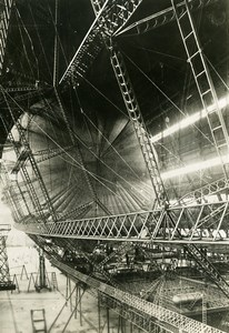 UK Aviation Dirigible Rigid Airship R101 Construction Hangar Old Photo 1928