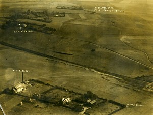 France WWI Aisne Front Selle Battle British Royal Engineers Aerial Photo 1918
