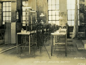 USA Chicago Aviation Service & Transport Airplane Welding Section Old Photo 1925