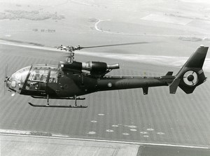 British Army Air Corps Aviation Helicopter AAC Gazelle XZ341 Old Photo 1970's
