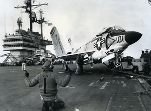 USA 6th Fleet McDonnell F3H Demon Jet on Desk of USS Forrestal Old Photo 1957