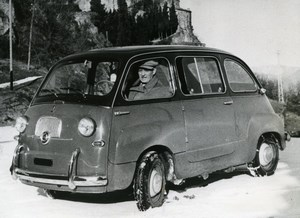 Italy Torino Fiat 600 Multipla Microbus 6 seat Minivan Automobile Old Photo 1956