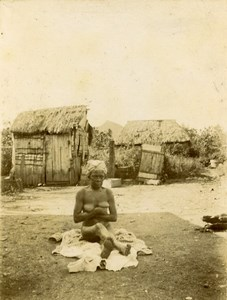 Sub-Saharan Africa Female Nude Study Village Huts Old Photo 1890