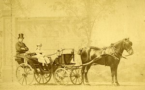 France Paris Transportation Pony Chaise Old Delton Albumen Photo 1875