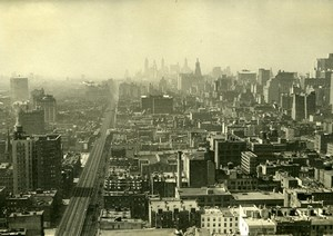 USA New York Building Panorama Roof tops Old Houston Rogers Photo 1930's
