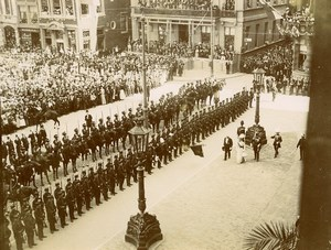 Spain Madrid President Fallieres Honor Guard Revue Crowd Old Photo 1910