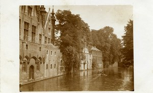 Belgium Bruges ? Promenade on a Canal Real Photo Postcard 1930's