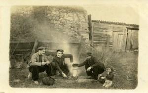 France Friends Boy Scene Travelers Break Real Photo Postcard 1920