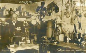 France WWI Turpin in his Laboratory Real Photo Postcard 1914
