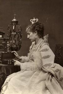 France Theater Stage Actress Sarah Bernhardt in Ruy Blas Old Photo Carjat 1875