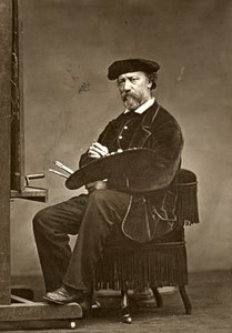 France painter Charles Francois Daubigny Old Woodburytype Photo Carjat 1875
