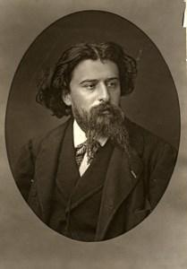 France Author Alphonse Daudet Old Woodburytype Photo Mulnier 1875