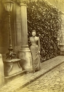 France Lille ? Street Young Lady Victorian Fashion Old Amateur Photo 1896