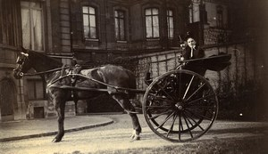 France Lille Couple in Convertible Horse Car Old Amateur Photo 1896