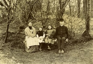 France Lille Family Ducrocq Lesage Sat on a Bench Old Amateur Photo 1896