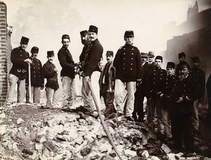 France Lille Fire Department Firemen at work Old Amateur Photo 1896