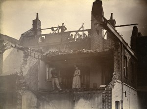 France Lille Group in House Ruins Old Amateur Photo 1896