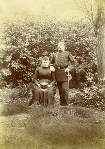 France Lille Couple Military Officer in Uniform Old Amateur Photo 1896