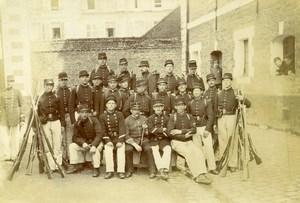 France Lille Caserne Vandamme Soldiers in Uniform Old Amateur Photo 1896