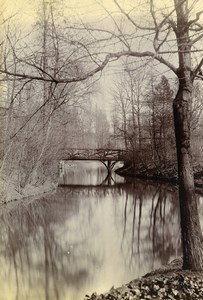 France Around Lille Wooden Bridge River Old Amateur Photo 1896