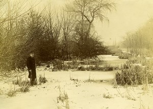 France Around Lille Military Winter Scene Old Amateur Photo 1896