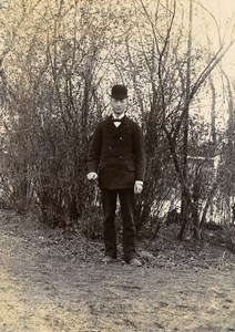 France Lille Young Man in the Countryside Old Amateur Photo 1896