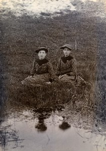 France Lille Family Ducrocq Lesage Young Girls Pond Old Amateur Photo 1896