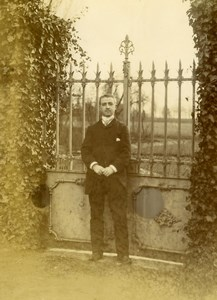 France Lille Man Standing by Gate Old Amateur Photo 1896