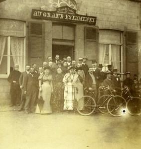 France Lille Au Grand Estaminet Group Café Old Amateur Photo 1896