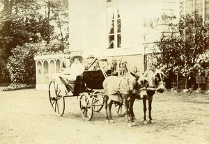 France Lille Donkeys Cabriolet for Children Old Amateur Photo 1896