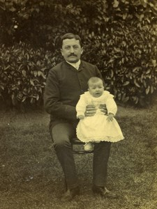 France Lille Father & Baby Son in Garden Old Amateur Photo 1896