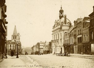 France Somme Montdidier la Place Old Cabinet Card Photo 1890