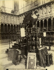 Spain Toledo Cathedral detail of the Choir Catedral Coro Old Photo Alguacil 1870