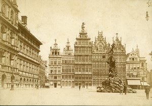 Belgium Antwerp Anvers Grand' Place Grote Markt Old Photo 1900