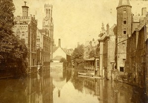 Belgium Bruges Canal & Beffroi Belfry Old Photo 1900