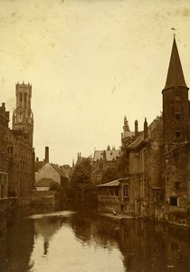 Belgium Bruges Canal & Beffroi Belfry Old Photo 1890